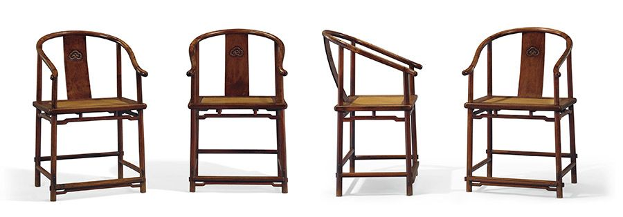 A very rare and superb set of four huanghuali horseshoe-back armchairs, Quanyi. 17th century. 37½ in (95.3 cm) high, 23 in (58.5 cm.) wide, 17¾ in (45.1 cm.) deep. Estimate: $800,000-1,200,000. Offered in Important Chinese Ceramics & Works of Art on 13 September 2019 at Christie's in New York