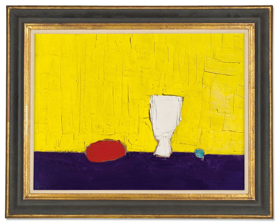 Nicolas de Staël, Natura Morte au Fond Jaune, 1952. Oil on canvas. 18 x 23⅞ in (45.8 x 60.8 cm). Estimate: £700,000-1,000,000. Offered in The Jeremy Lancaster Collection on 1 October at Christie's London