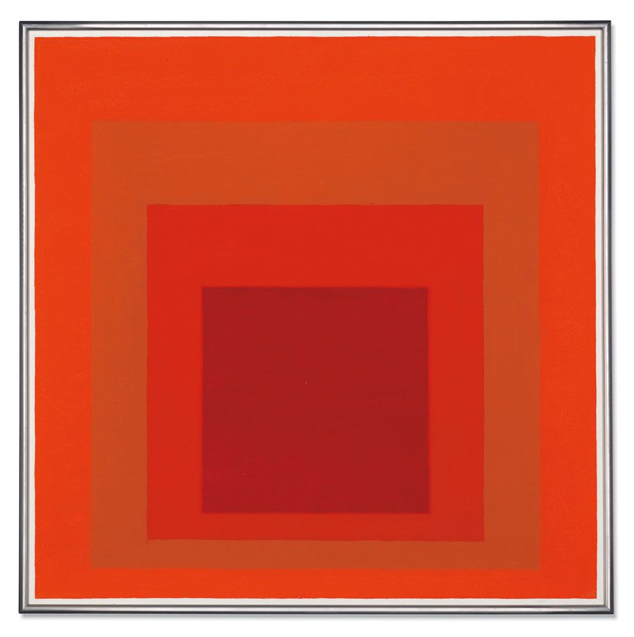Josef Albers, Study for Homage to the Square: Red Tetrachord, 1962. Oil on masonite. 30 x 30 in (76.2 x 76.2 cm). Estimate: £600,000-800,000. Offered in The Jeremy Lancaster Collection on 1 October at Christie's London