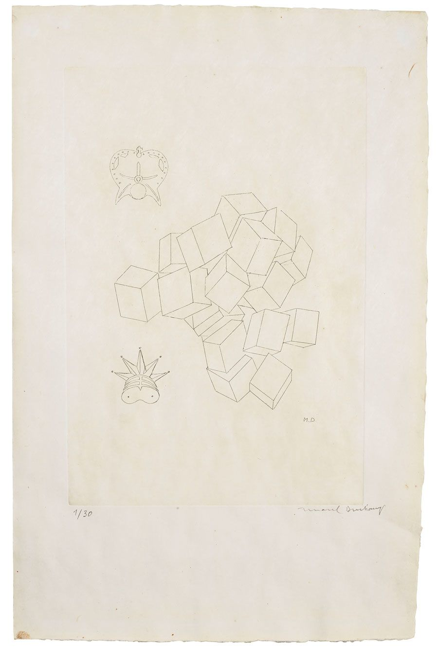 Marcel Duchamp (1887-1968), King and Queen, from: The Lovers. Plate 505 x 325 mm. Sheet 502 x 325 mm. Estimate: £5,000-7,000. Offered in Prints & Multiples on 18 September 2019 at Christie's in London